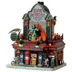Lemax 2017 Halloween Spooky Town Reaper Motorcycle Co. Halloween Train, Halloween Art, Halloween Decorations, Halloween Scene, Halloween Projects, Halloween 2018, Halloween Stuff, Halloween Village Display, Halloween Miniatures