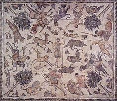 in Worcester Massachusetts, a late Roman mosaic from Antioch showing hunting