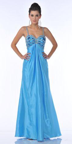 Satin Turquoise Formal Dress Rhinestone Studded Sexy Low Back Beads $237.99