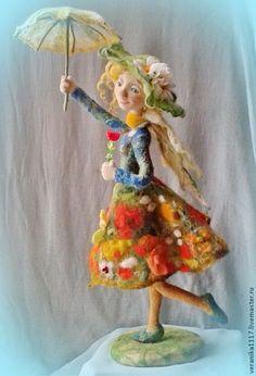 """Купить Кукла из шерсти """"Неисправимая оптимистка!"""" - зелёный, кукла в подарок, для интерьера, радость, зонтик ♡:"""