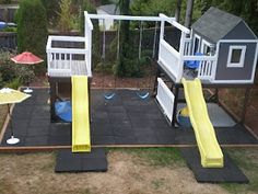 Blessings and Bling: DIY playset I like the 2 slides, cause you know with 2 or more kids they will fight over the slides. Might be cool to have the house on one side and a cave under the other.