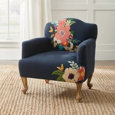 Grandin Road: Home Décor Funky Furniture, Painted Furniture, Painted Fabric Chairs, Outdoor Furniture, Office Furniture, Poltrona Vintage, Pouf Design, Upholstered Chairs, Wingback Chairs