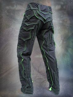 dark Knight cyber pants trousers $159, black with neon UV reactive parts mostly hidden