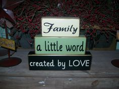 Primitive Family Wood Sign Blocks Distressed Country Decor Stacker Blocks..Let me customize a set for you. $21.99, via Etsy.