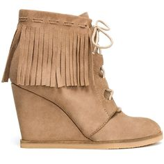 Zara Wedge Ankle Boot With Fringes ($30) via Polyvore