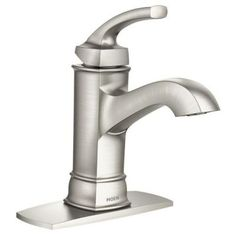 MOEN Hensley Single Hole 1-Handle Bathroom Faucet Featuring Microban Protection in Spot Resist Brushed Nickel-84414MSRN - The Home Depot
