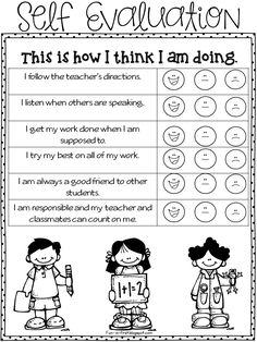 Self-evaluation worksheet to help monitor and have classroom management.