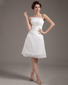 Strapless Taffeta Beading Short Wedding Dress. Love the top!