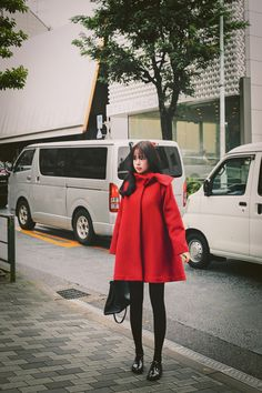 Korean fashion | cute red riding hood coat www.milkcocoa.co.kr