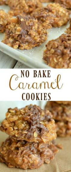 No Bake Caramel Cookies is part of Baked caramel No Bake Caramel Cookies Ingredients c quick oats sea salt to taste (I used a few grinds) 1 c semisweet chocolate chips ½ - Desserts Keto, Quick Easy Desserts, No Bake Desserts, Just Desserts, Delicious Desserts, Yummy Food, Desserts Caramel, Caramel Bars, Healthy Food