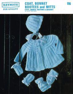 Keynote 116 baby matinee coat bonnet set vintage by Ellisadine