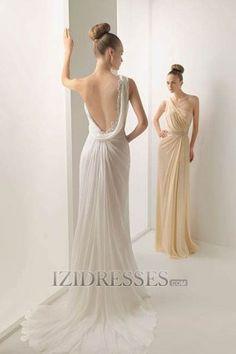 A-line One Shoulder Chiffon A-Line Wedding Dresses at IZIDRESSES.com