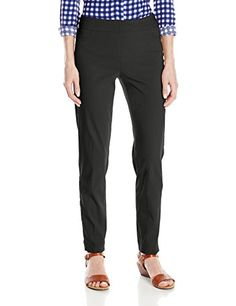 SLIMSATION Womens Wide Band Pull On Straight Leg Ankle Pant with Tummy Control Black 10 ** Check out the image by visiting the link.
