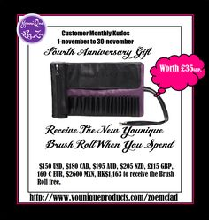 CUSTOMER KUDOSNovember 1 - November 30, 2016 FOURTH ANNIVERSARY GIFT Receive the new Younique Brush Roll WORTH £35 as our Fourth Anniversary Gift to you when you spend £115    #younique #brushroll #beauty #makeup #cosmetics #uk #england #australia #newzealand #germany #france #spain #canada #usa #mexico #belleza #maquillaje