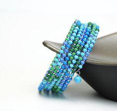 Ocean Seed Bead Memory Wire Bracelet - Blue and Green Beaded Wrap Bracelet - Beach Jewelry
