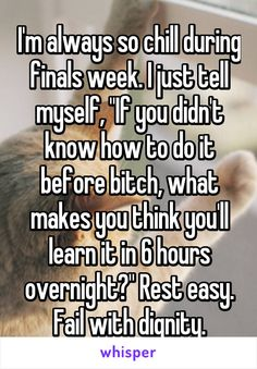 """I'm always so chill during finals week. I just tell myself, """"If you didn't know how to do it before bitch, what makes you think you'll learn it in 6 hours overnight?"""" Rest easy. Fail with dignity."""