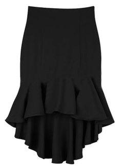 Black Ruffles High Low Bodycon Skirt.