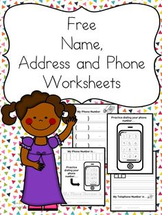 Name Address Phone Number Worksheets - Free and Fun! Preschool or Kindergarten Reading or Writing Activity -Name Address Phone Number Worksheets - Free and Fun! Preschool Classroom, Preschool Learning, Student Learning, Preschool Activities, Kids Learning, Educational Activities, Teaching Kids, Learning Time, Educational Websites