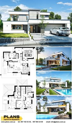 Layouts Casa, House Layouts, House Plans Mansion, Dream House Plans, Villa Design, Modern Architecture House, Architecture Plan, House Construction Plan, Villa Plan