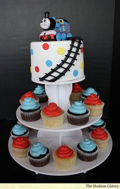 Thomas the Tank Engine Cake... But with real train on top.