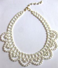 Vintage pearl bride after five necklace choker 1950 s door eejewelry Beaded Wedding Jewelry, Vintage Wedding Jewelry, Bridal Jewelry, Seed Bead Jewelry, Bead Jewellery, Pearl Jewelry, Beaded Necklace Patterns, Beaded Earrings, Beaded Bracelets