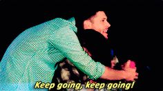 """""""Keep going, keep going."""" - Jared's reaction as Jensen is telling how he loves to cradle his daughter at naptime :D #J2 #DCCon2014"""