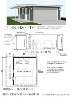 Two Car Garage Plan 480-1FT with Flat Roof and Side Porch 26' x 24' by Behm Design