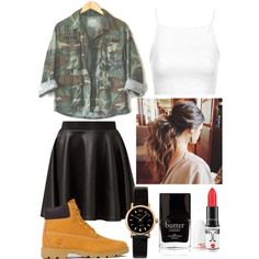 A fashion look from March 2015 featuring Topshop tops, Cameo Rose mini skirts and Timberland boots. Browse and shop related looks.