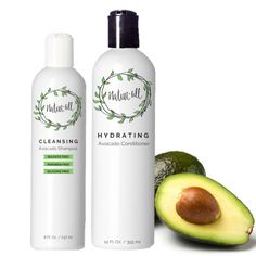Wash Day Bundle: Cleansing Avocado Shampoo and Hydrating Avocado Conditioner #AvocadoHair Avocado Hair, Avocado Face Mask, Wash N Go, Fruit Water, Olive Fruit, Deep Conditioner, Damp Hair Styles, Wet Hair, Perfect Food