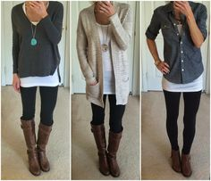 Outstanding Outfit With Leggings And Boots : Astonishing Outfit With Black Leggings Plus Cognac And Brown Bootsts Leggings Outfit Winter, Boots And Leggings, Dresses With Leggings, Brown Leggings, Outfit With Black Leggings, Frye Boots Outfit, Brown Boots Outfit, Pretty Outfits, Cute Outfits