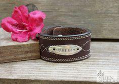 Mercy Leather Chick Cuff Bracelet by HenandChicksToo on Etsy, $30.00