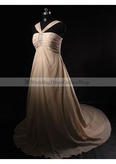 £143 chiffon sexy halter beaded bodice a line skirt with chapel train plus size wedding gown wp 0036