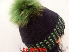 *Strickmütze mit Pelz Bommel Pompon aus Finnraccon in gift-grün!  Must have für den Winter alla Kitzbühl  Witzig und im Trend 2013.*  Die Mischgarn wu