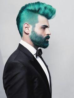 Teal hair and beard