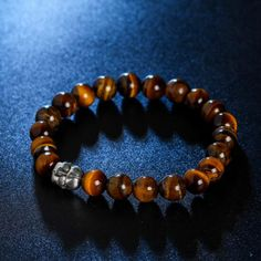 Turquoise Bright Lava Stone Tiger Eye Silver Buddha Bracelets With Maitreya Head For Men Jewelry
