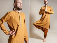 Ochre Indian shirt / Indian kurta / hippie boho by vintagecode