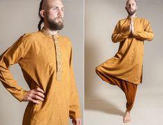 Ochre Indian shirt / Indian kurta / hippie boho by vintagecode