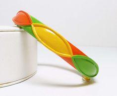 Vintage Lisner Bracelet - Mod Enamel Bangle - Pop Art Green, Yellow and Orange 1970's Design