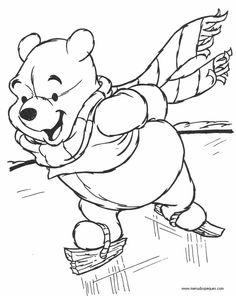 Dibujos para colorear Disney Junior | Winnie Pooh patinando