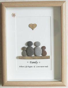 Guijarro arte enmarcado cuadro familia