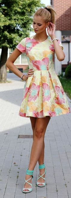 Yellow Multi Summer Floral Box Pleated Skater Dress by Beauty - Fashion - Shopping