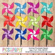 Summer Pinwheels Clipart Collection [CA45_Summer Pinwheels] - $5.00 : PicsAndPaper.com,