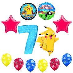 "Amazon.com: NEW! 12 pc Pokemon Go ""You've Leveled Up"" 7th Happy Birthday Balloon Decoration supplies: Toys & Games"
