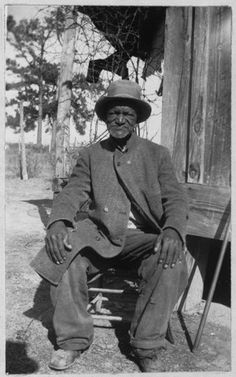 """WES BRADY, 88, was born a Slave.  """"I wore myself out right in this county and now I'm too old to work. These folks I lives with takes good care of me and the gov'ment gives me $11.00 a month what I is proud to git."""" (Texas Slave Narratives 1936-1938)"""