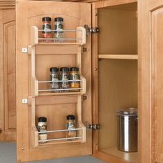 """Features:  -Includes: 1 Wood spice rack with chrome rails and mounting hardware and 3 fixed shelves.  -Product is designed to hold standard spice bottles (2.25"""").  -Attractive wood construction with d"""