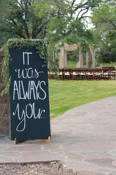 Large chalkboard sign at entrance of ceremony ~ we ❤ this! moncheribridals.com