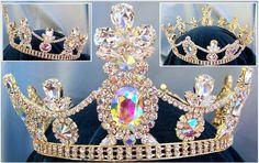 Crown/Royal Tsarina State Rhinestone Full Gold Queen, King Crown UNISEX Aurora Borealis