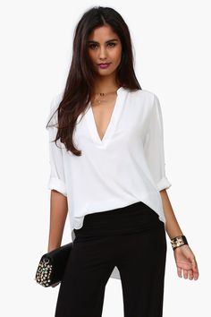 White V-Neck Blouse.