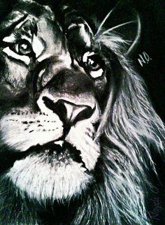 Unleahs Your Inner Beast  ♌ leo B&W CHARCOAL drawing Nayeli Ochoa