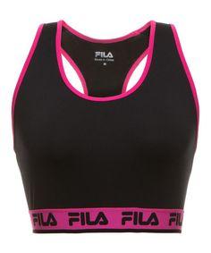 Look at this #zulilyfind! Black & Pink Logo Sports Bra - Women by FILA #zulilyfinds